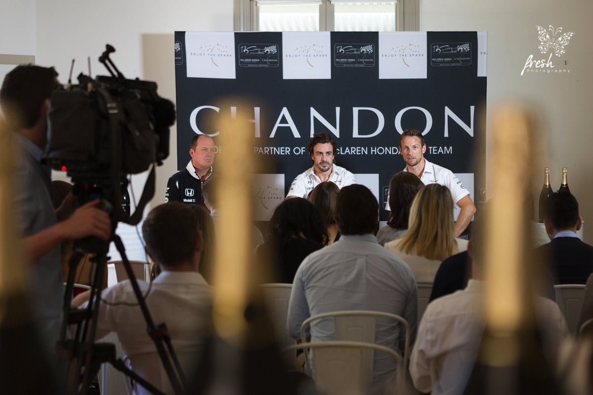press conference at domaine chandon for McLaren Honda - Drives Fernando Allonso and Jenson Button