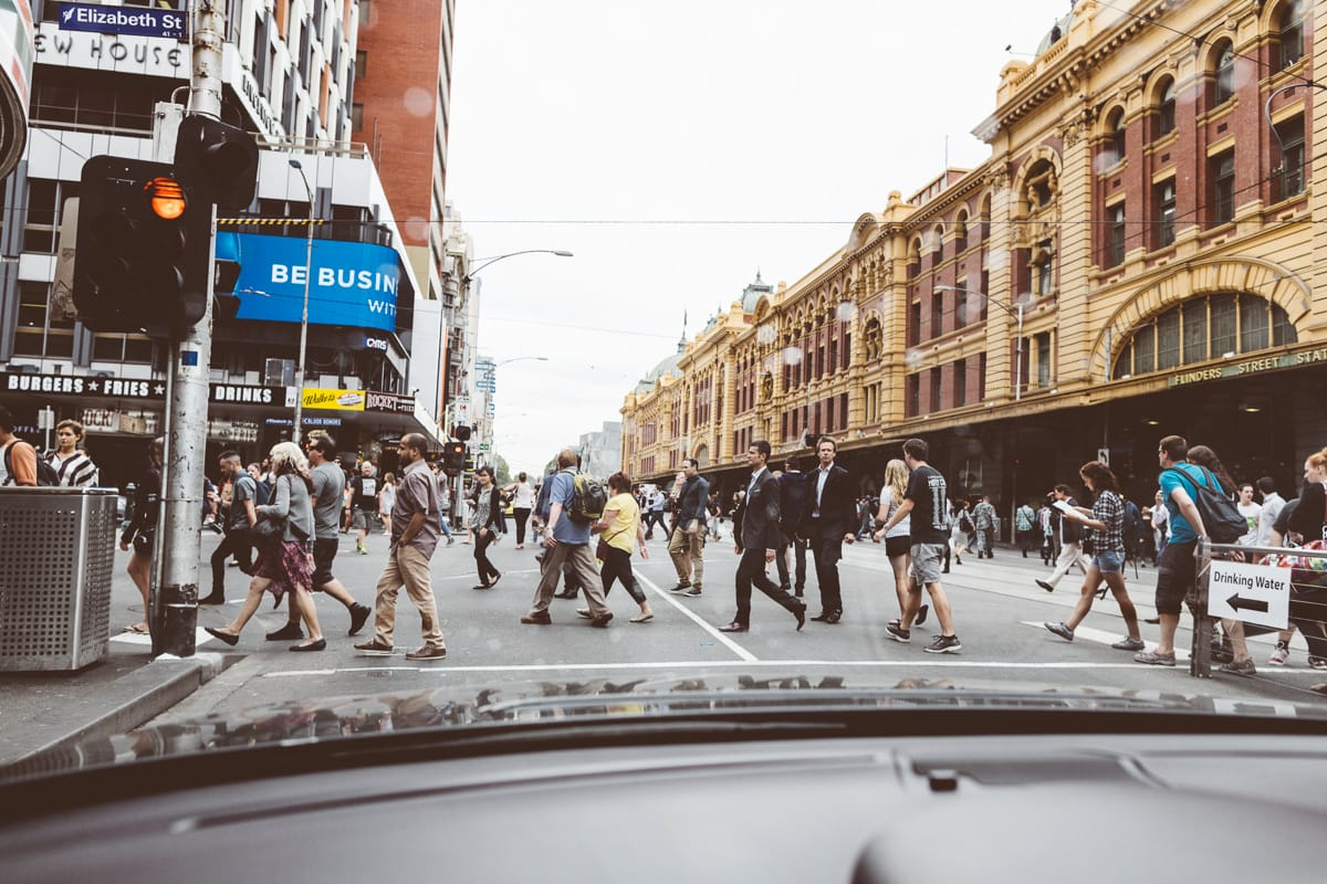 flinders street station melbourne photographed out of limousine at melbourne wedding