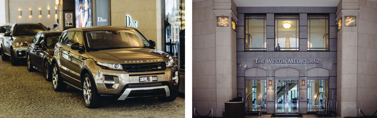 luxury cars at small wedding in melbourne , australia