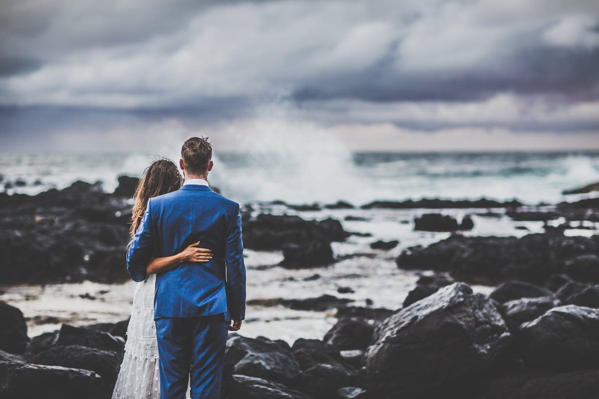 looking out on the ocean - ocean wedding photography at the australian coastline - beach and rocks - rough waves at sea wedding in melbourne