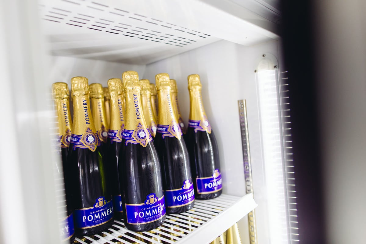 pommer y champagne in the fridge
