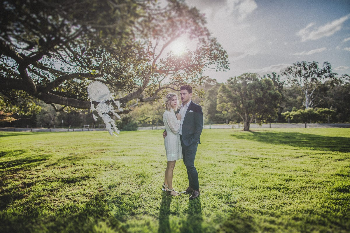 Gorgeous couple on their wedding day - boho inspired wedding photography