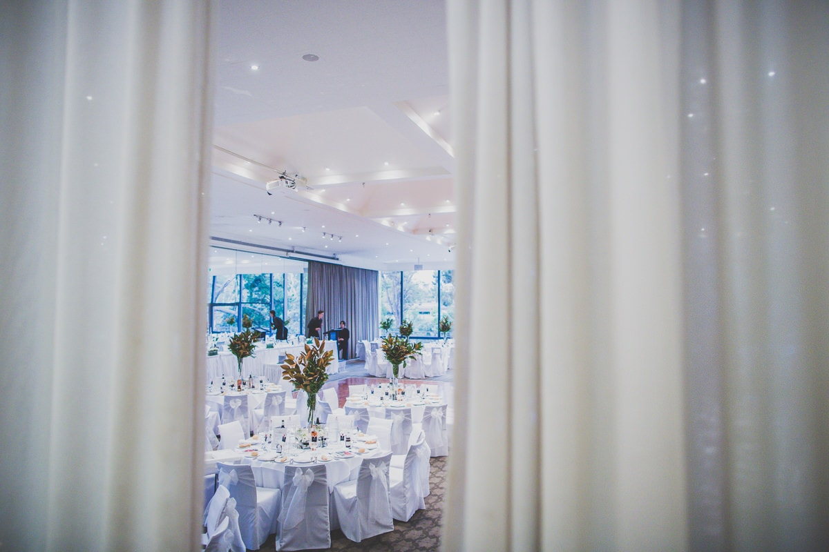 dining room at leonda by the yarra set up for large scale wedding in melbourne . captured by melbourne wedding photographer