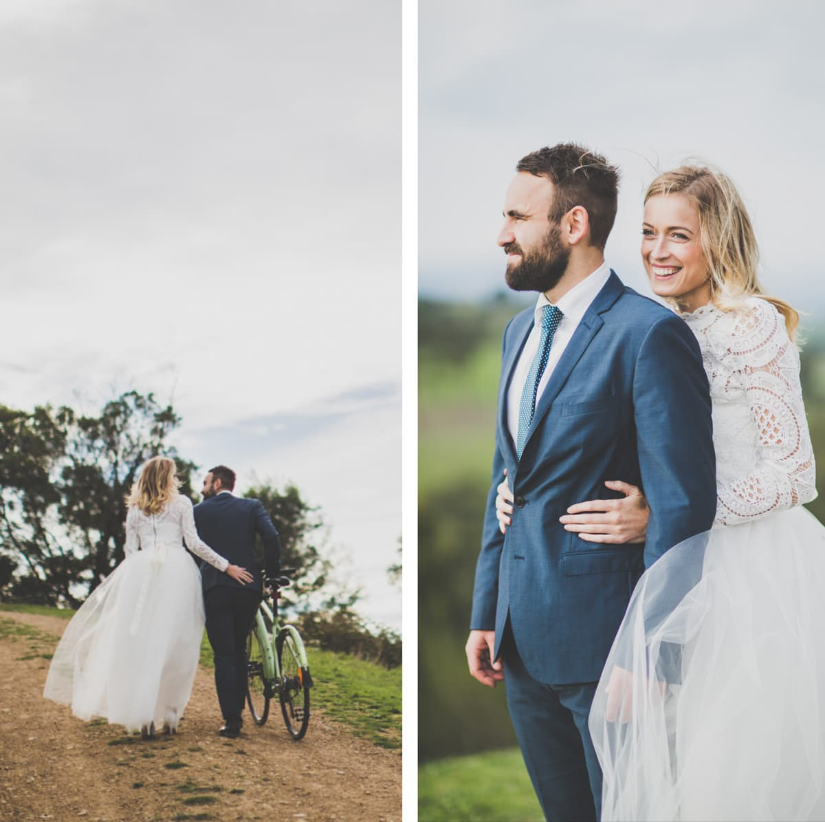 romantic wedding couple in melbourne - country weddings in victoria - couple in national park