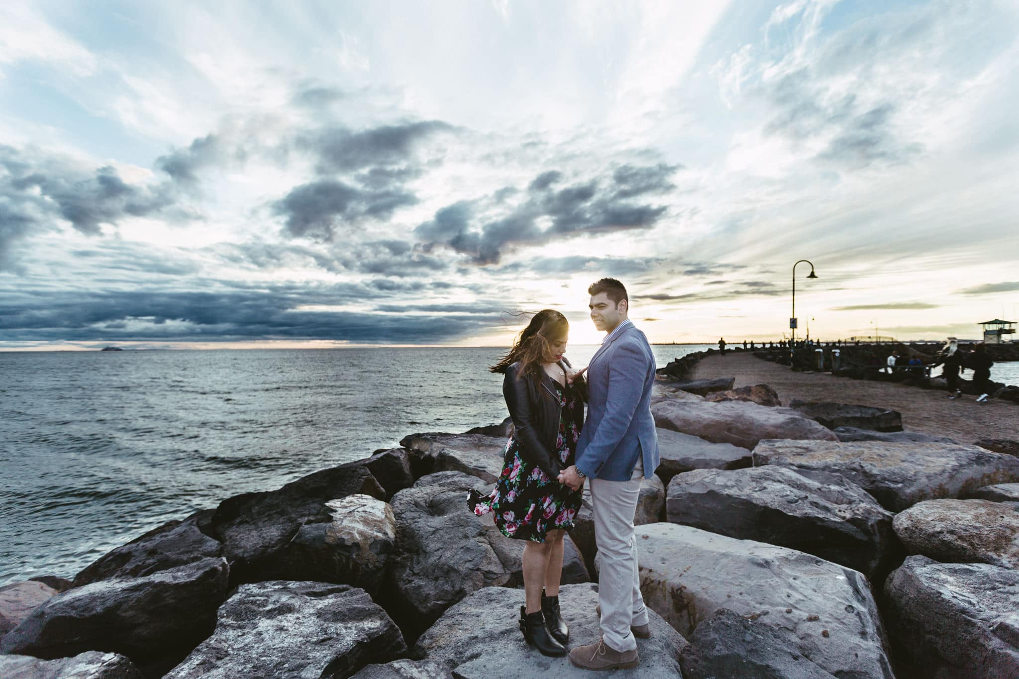 sunset over st kilda breakwater - wedding photos in melbourne