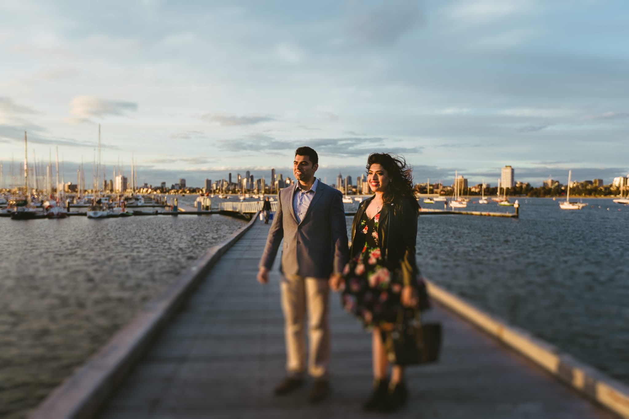 wedding couple with city backdrop in melbourne
