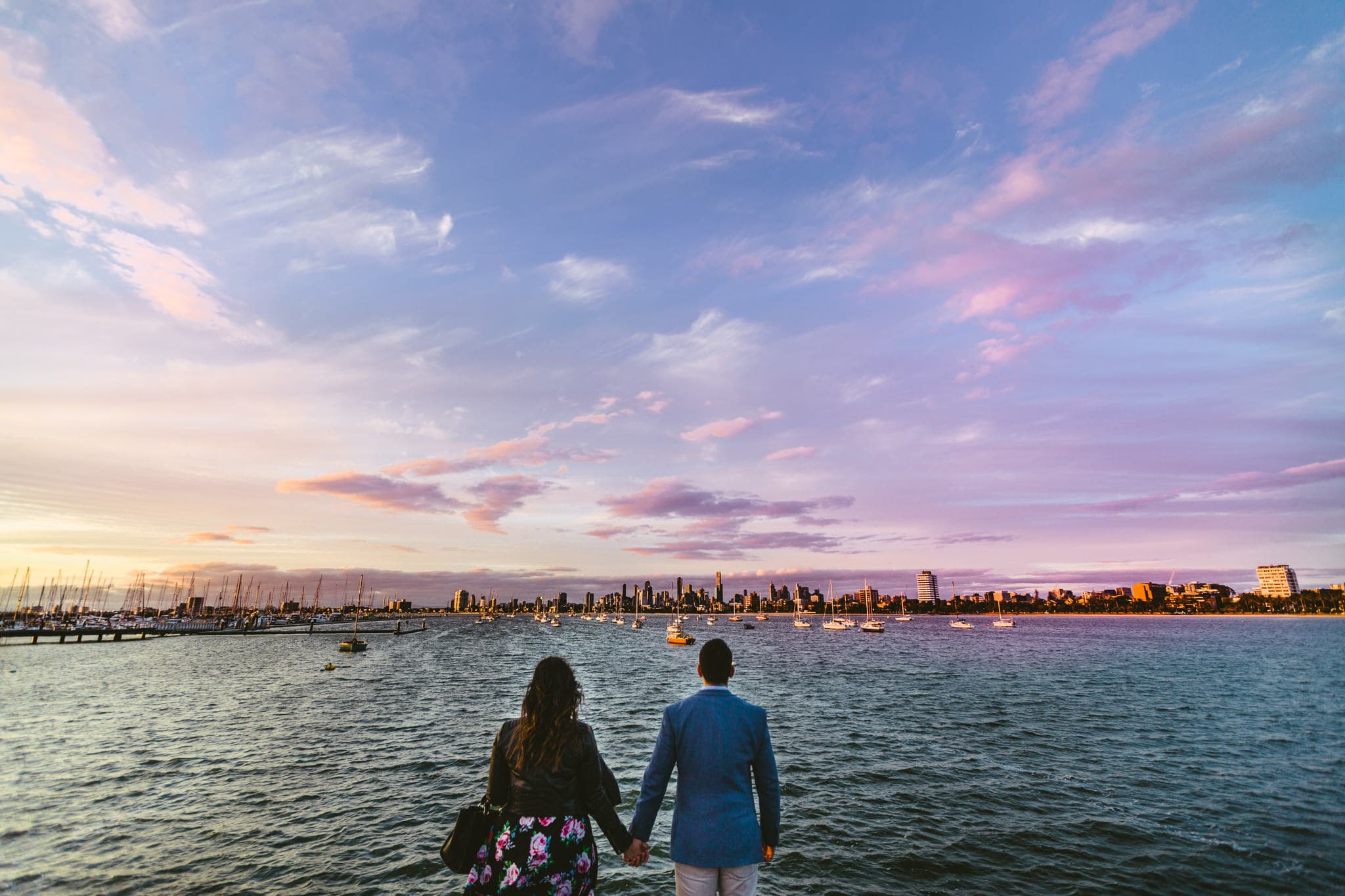 Wedding Photography St Kilda Pier - City view wedding photography in Melbourne - Creative and candid