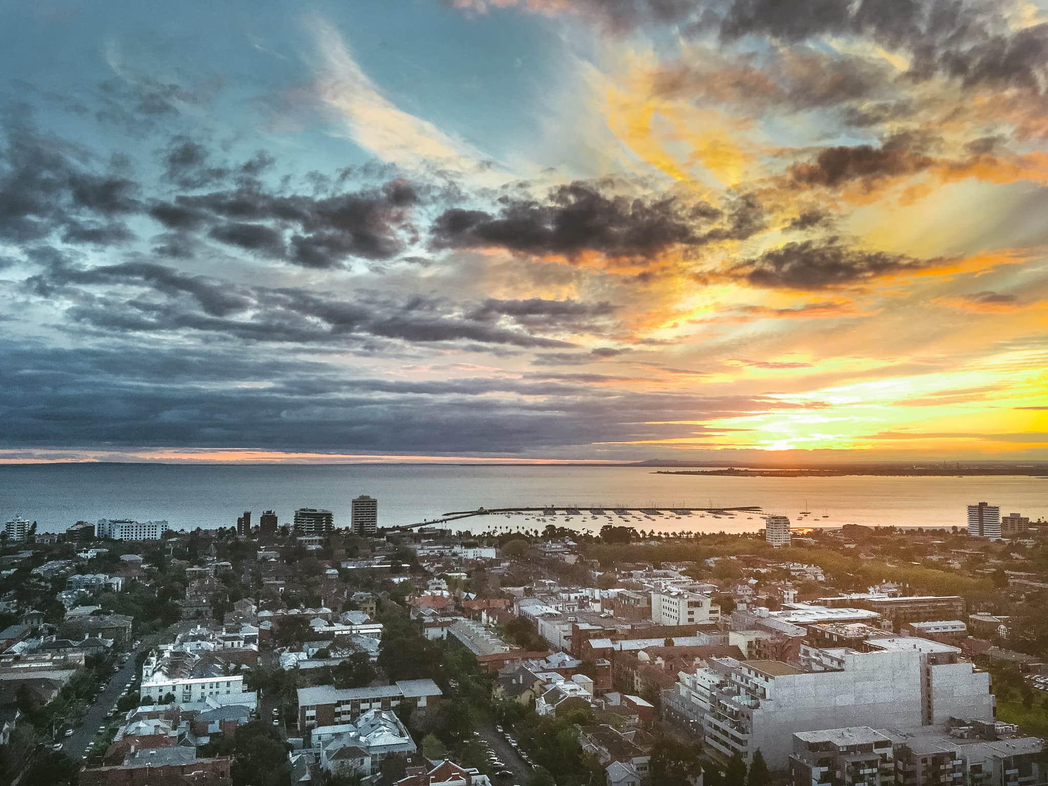 St Kilda Sunset from highrise  building - wedding photography st kilda in melbourne
