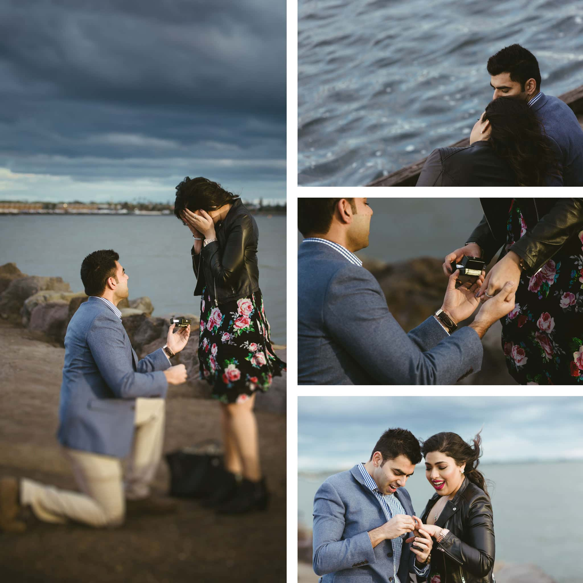 surprise engagement captured on camera - real photography in melbourne