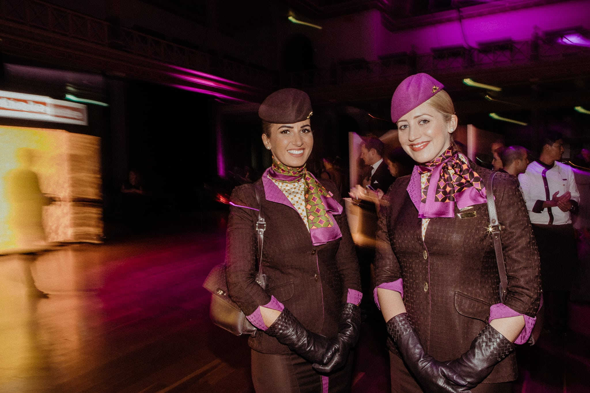 flight attendants from etihad at melbourne event