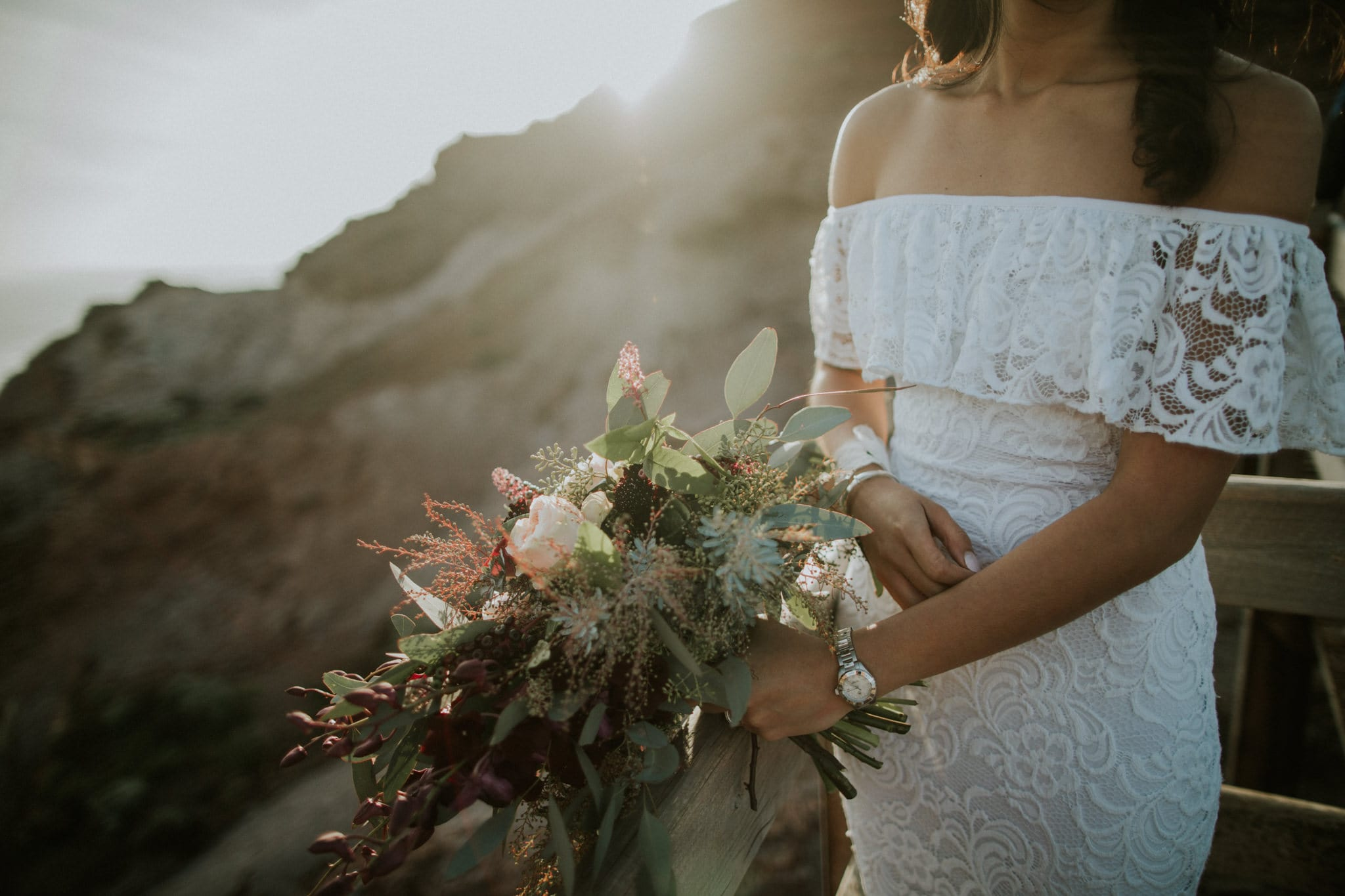beautiful bridal bouquet - pastel and white - backlit by sunset - beautiful bride - PR photo