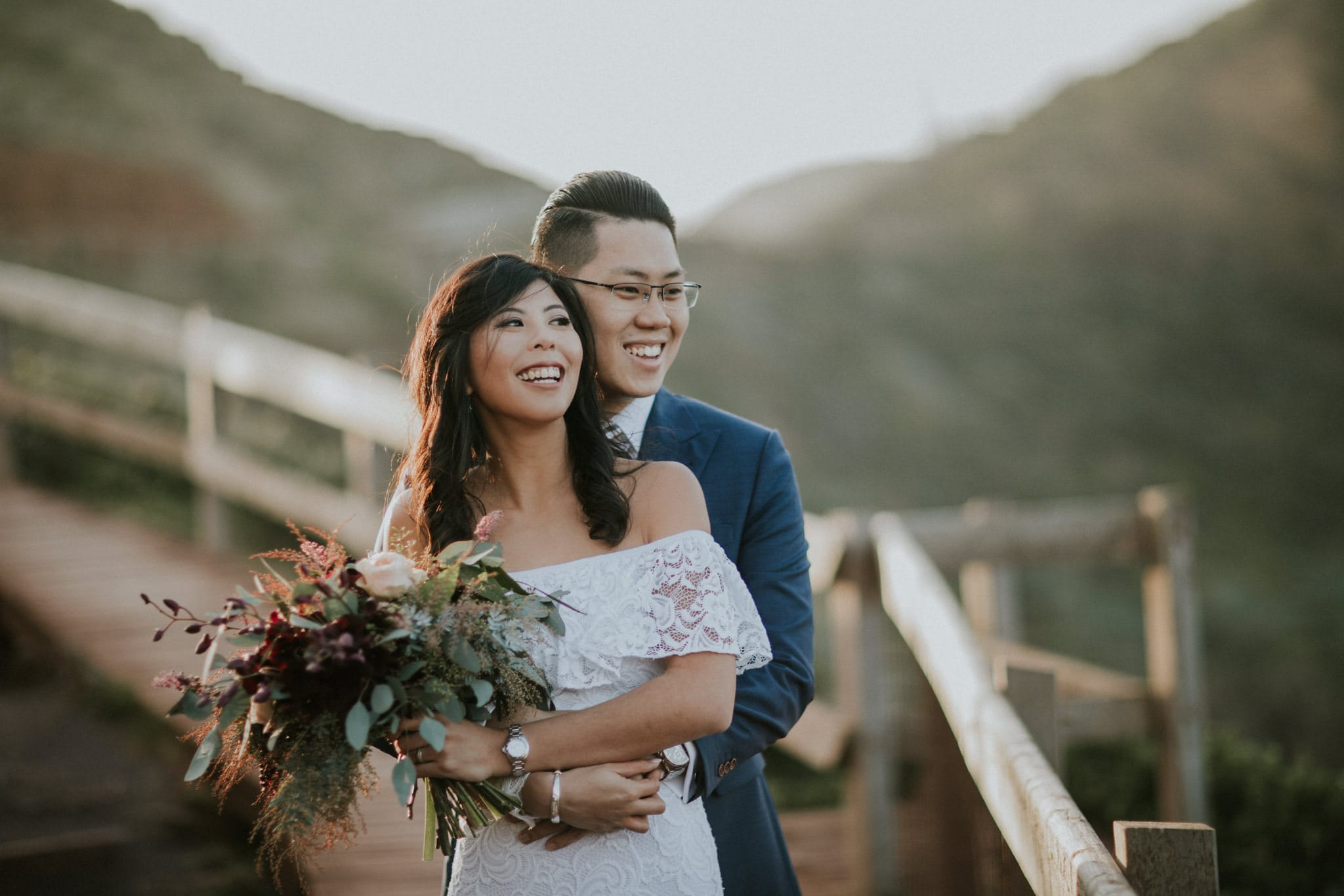 asian wedding photographer in Melbourne - couple from Singapore gets photoshoot in Melbourne - rustic native australian feel - rough nature at monrington coastal walk - portraits