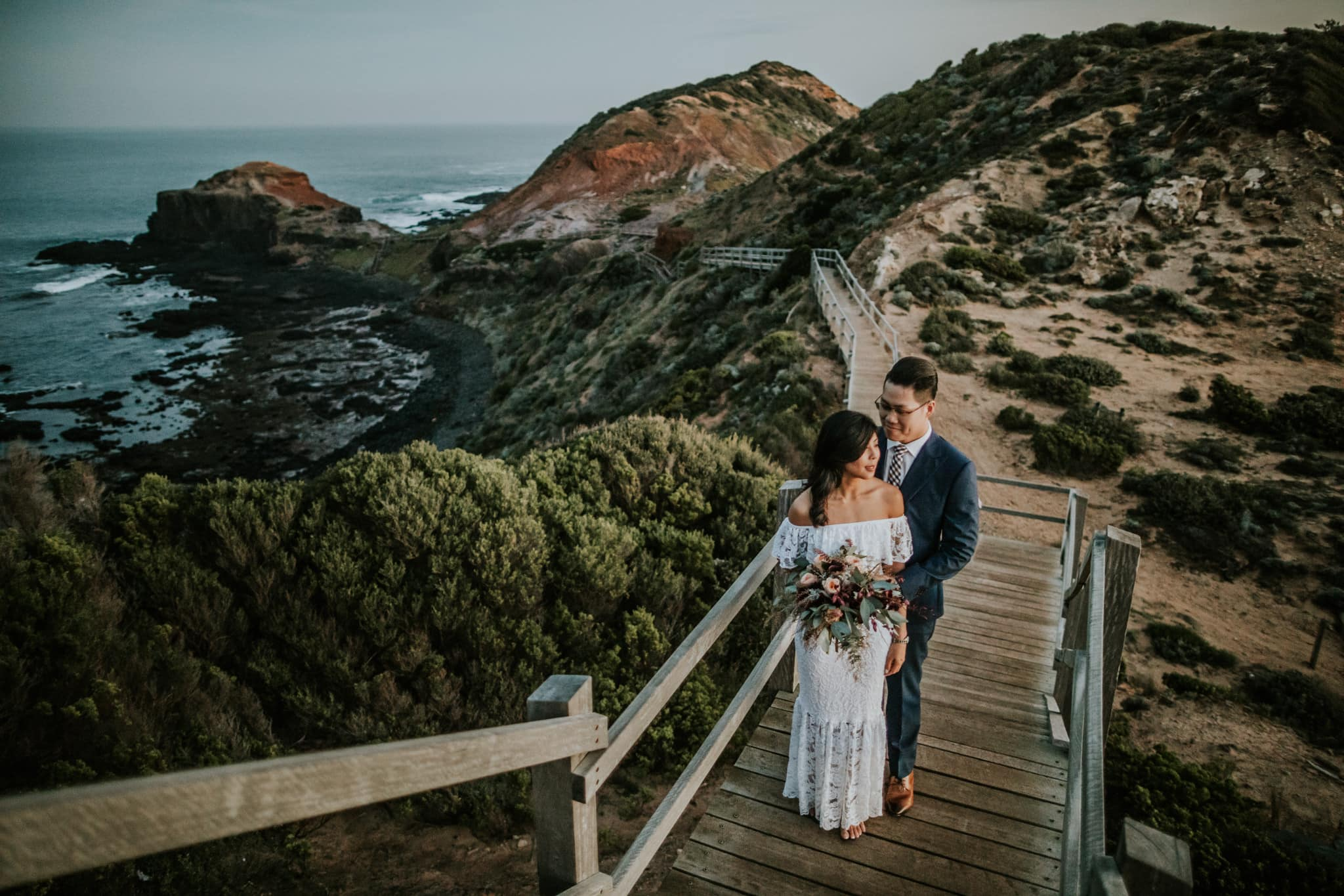 Mornington Costal Beach Wedding Photographer - Sunset Photoshoot with asian couple on Mornington Peninsula