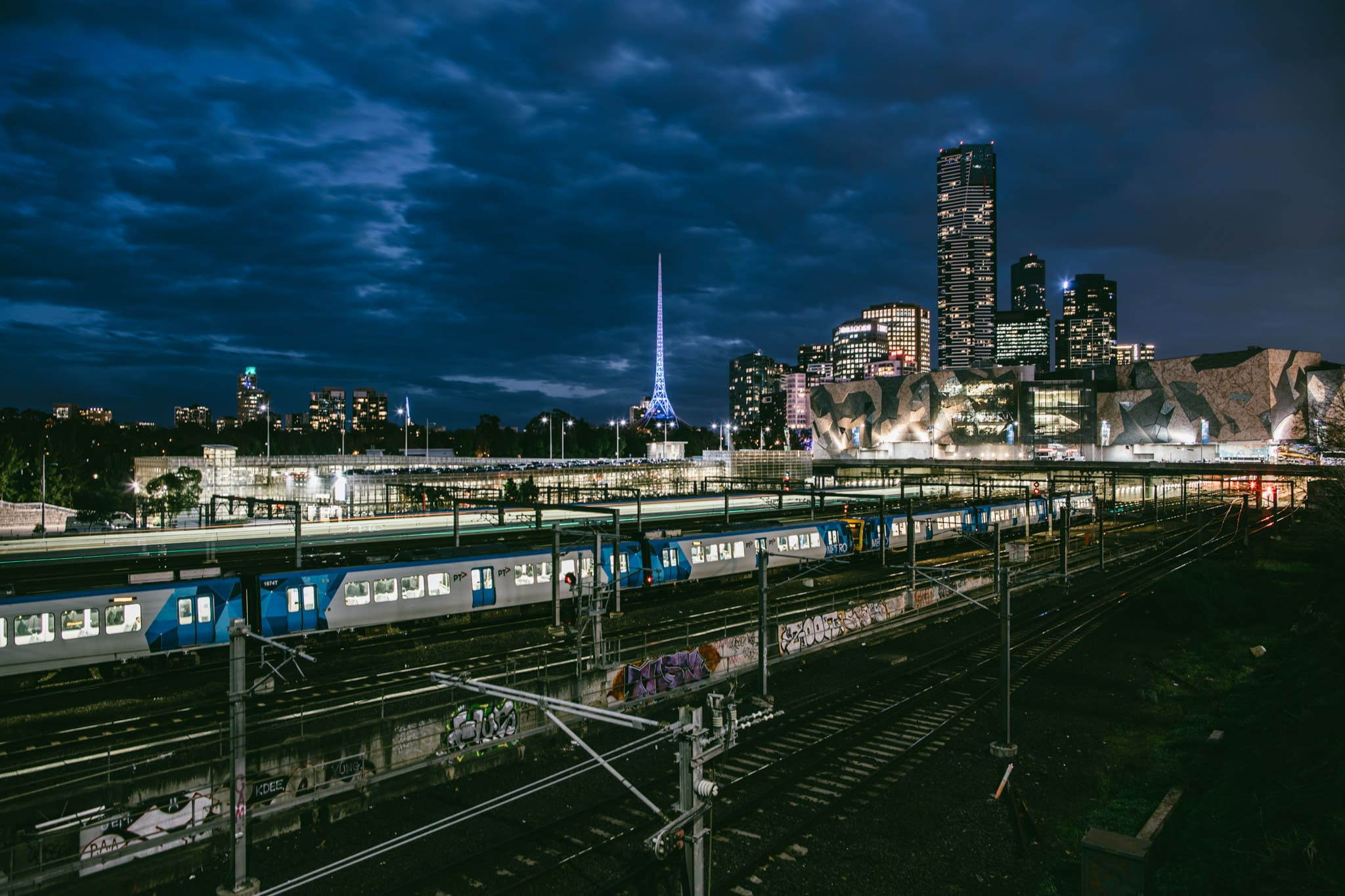 Melbourne CBD Skyline from Flinders Street - Federation Square at Night - Best photos in Melbourne