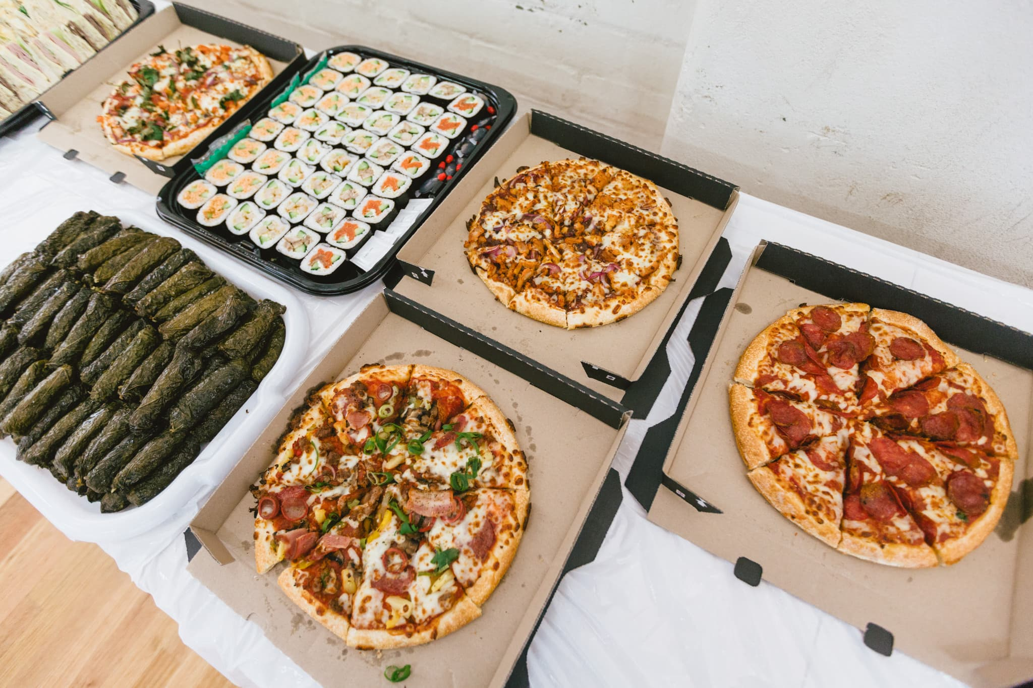 pizza catering photos at melbourne private event