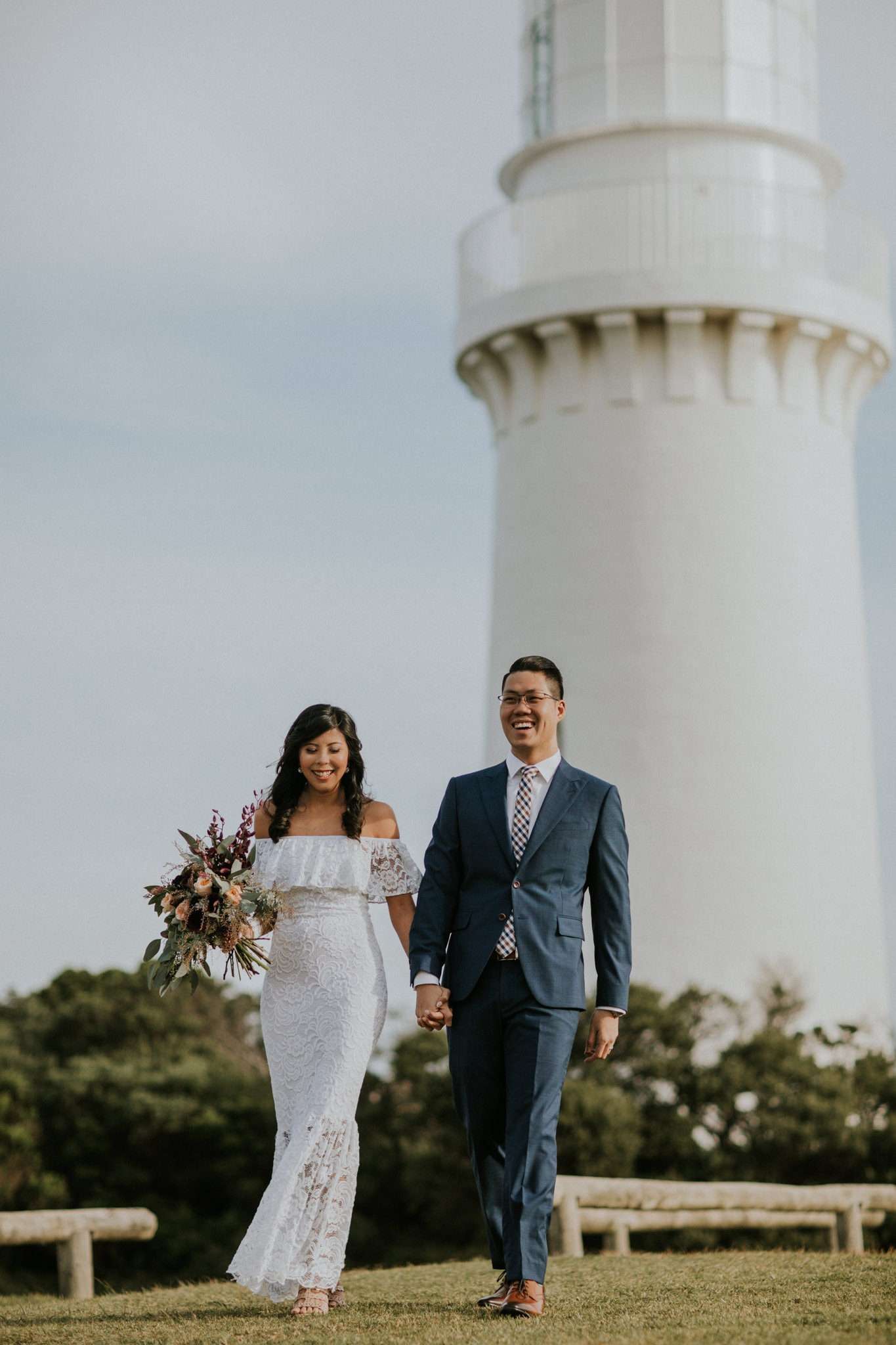 bride and groom at lighthouse wedding