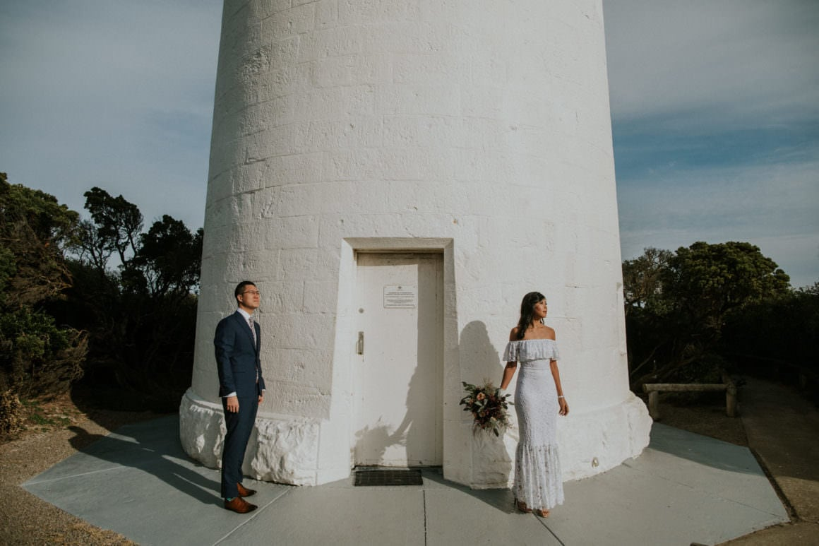 best sorrento wedding photographer on the mornington peninsula - photograph of bride and groom at lighthouse