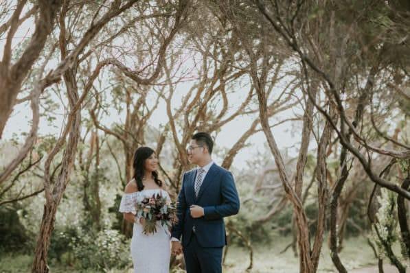 sorrento wedding couple - walking