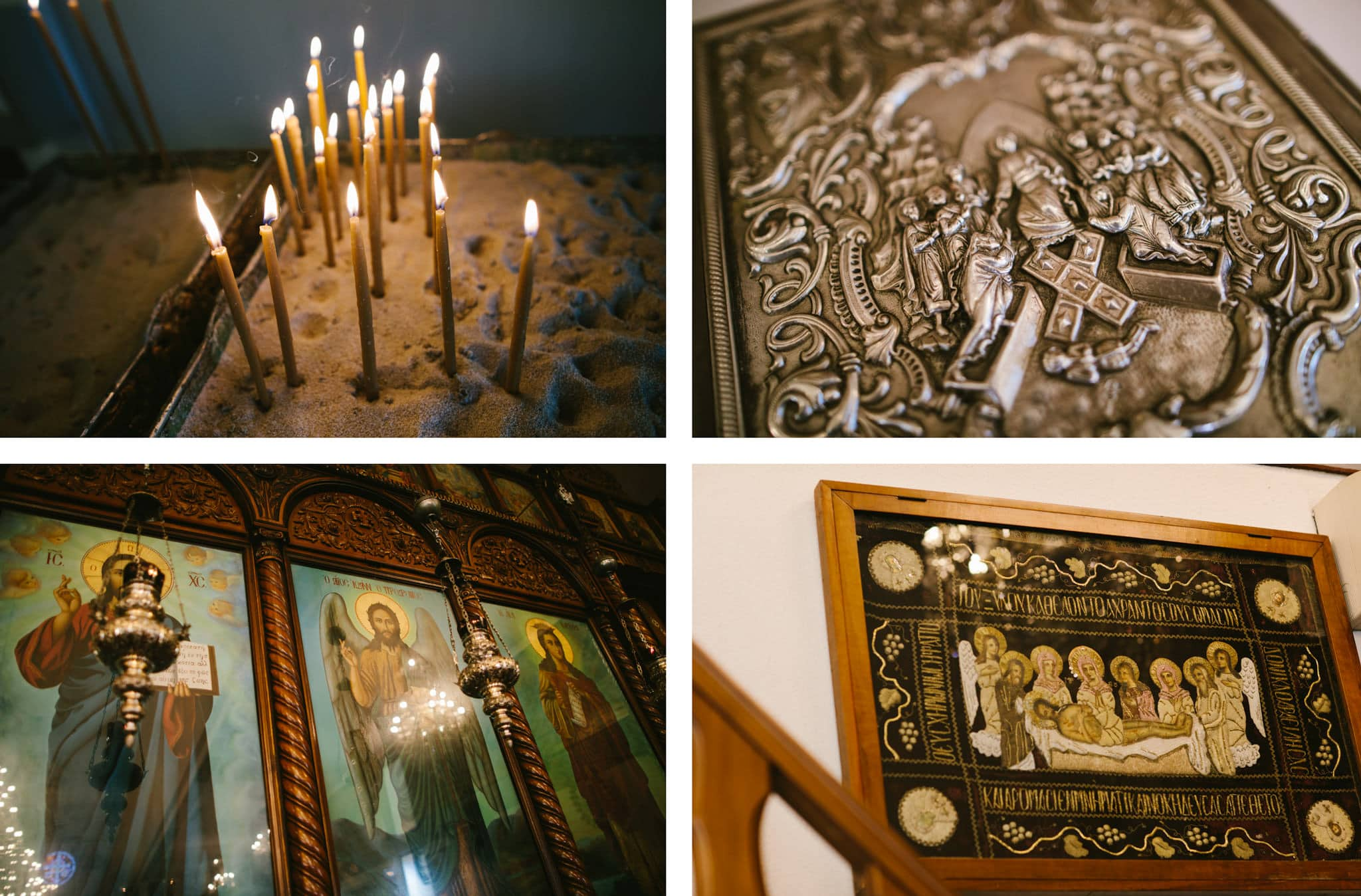 candles and greek orthodox church decorations