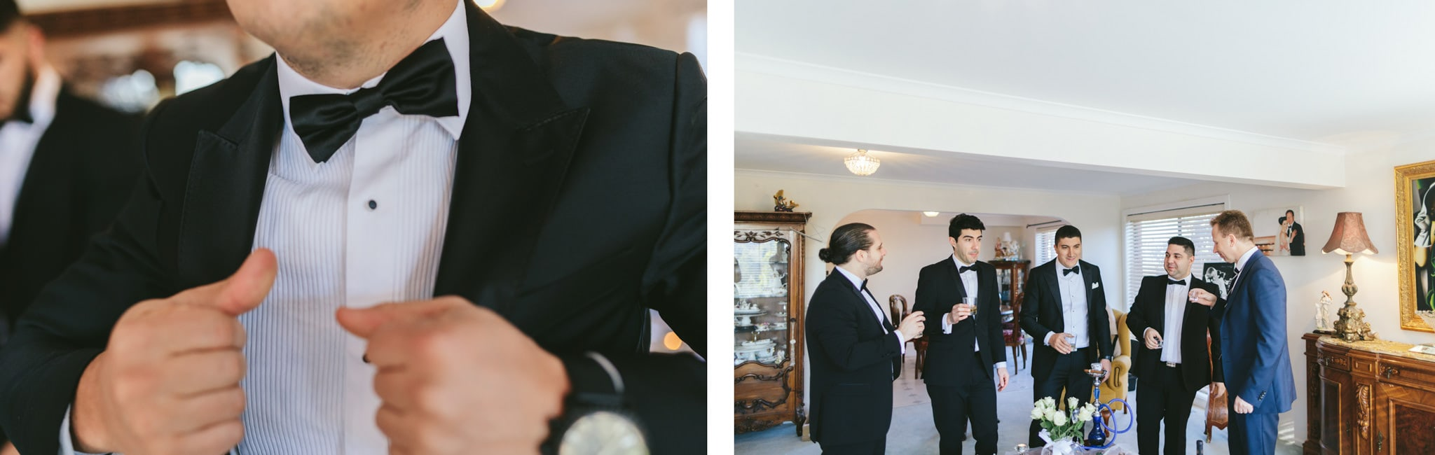 photos of groom getting ready for greek wedding with groomsmen - drinking whiskey