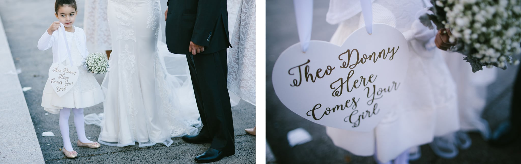 little girl holds sign at wedding - wedding photo ideas