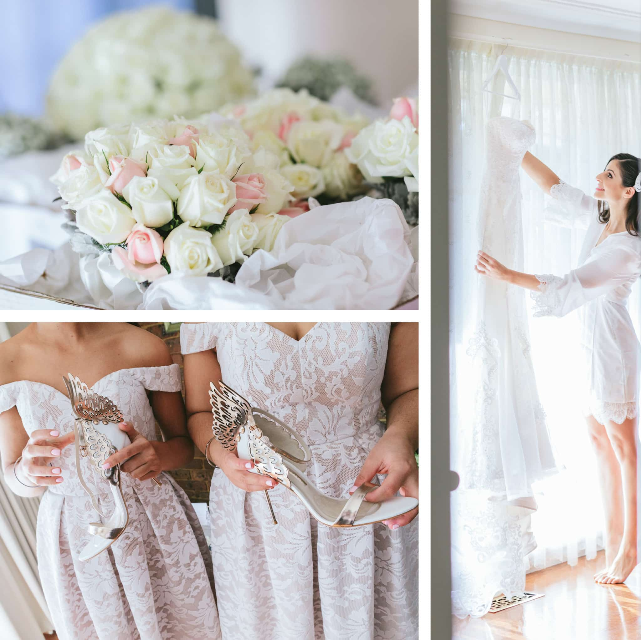 bride getting dressed - shoes with wings - wedding inspiration