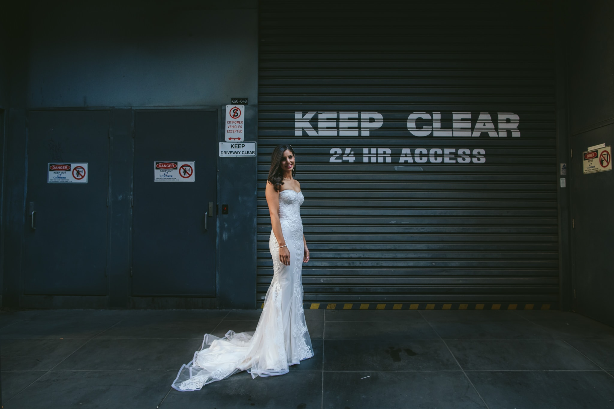 bride in creative wedding photo