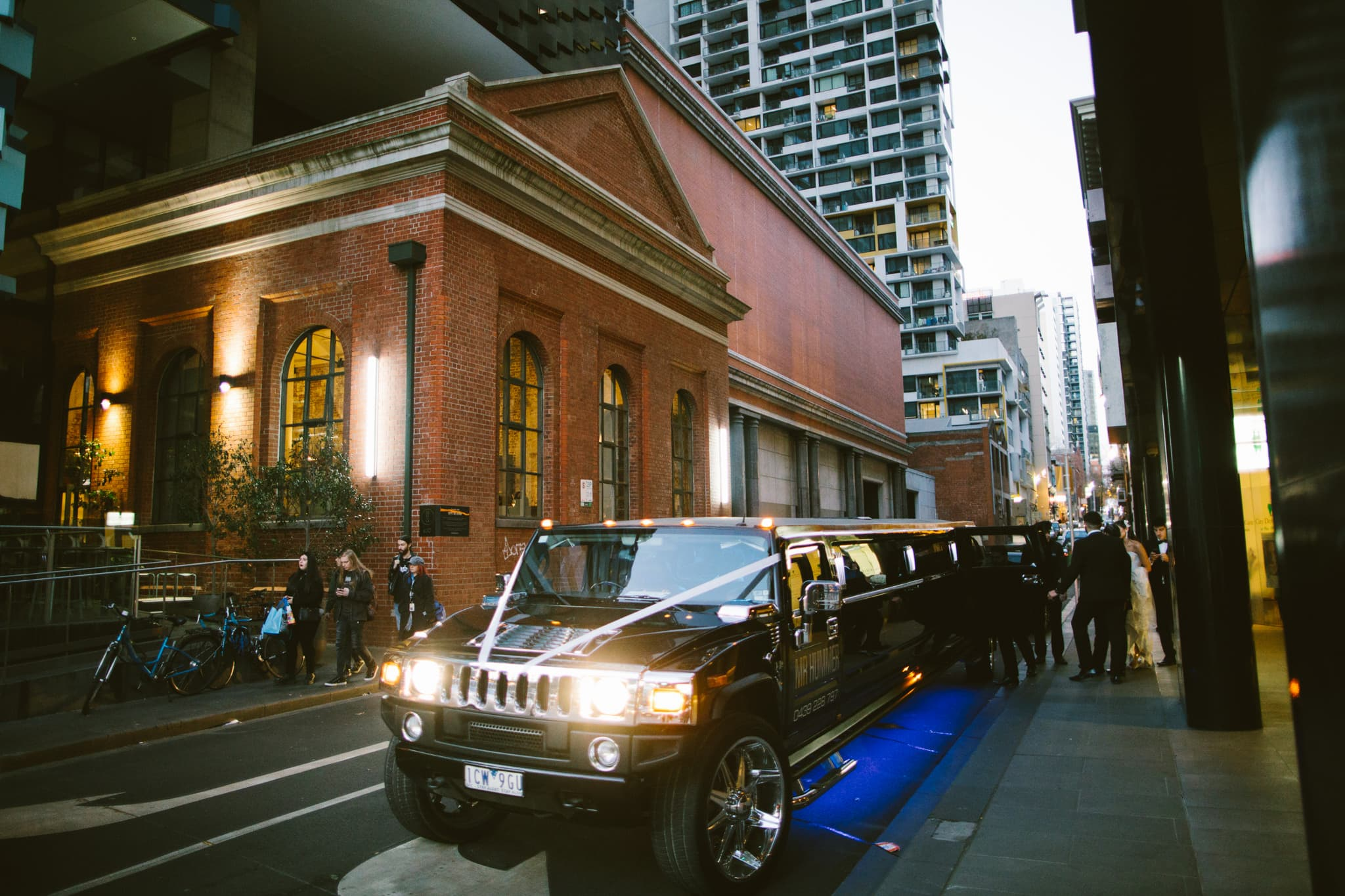 hummer limo in melbourne cbd - higher ground wedding