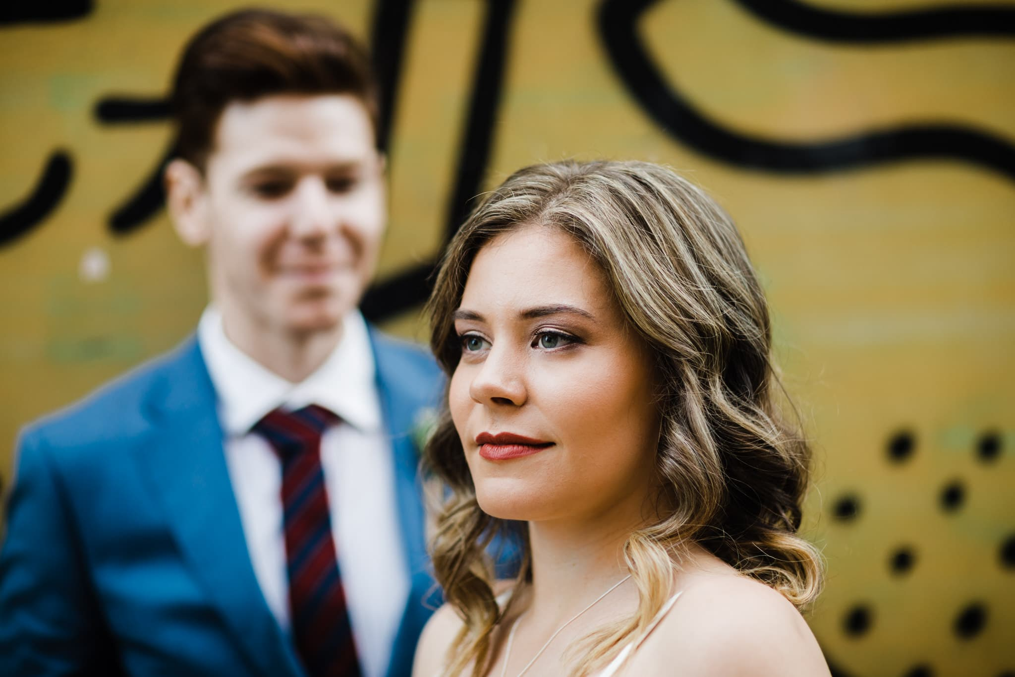 wedding couple in urban setting of melbourne