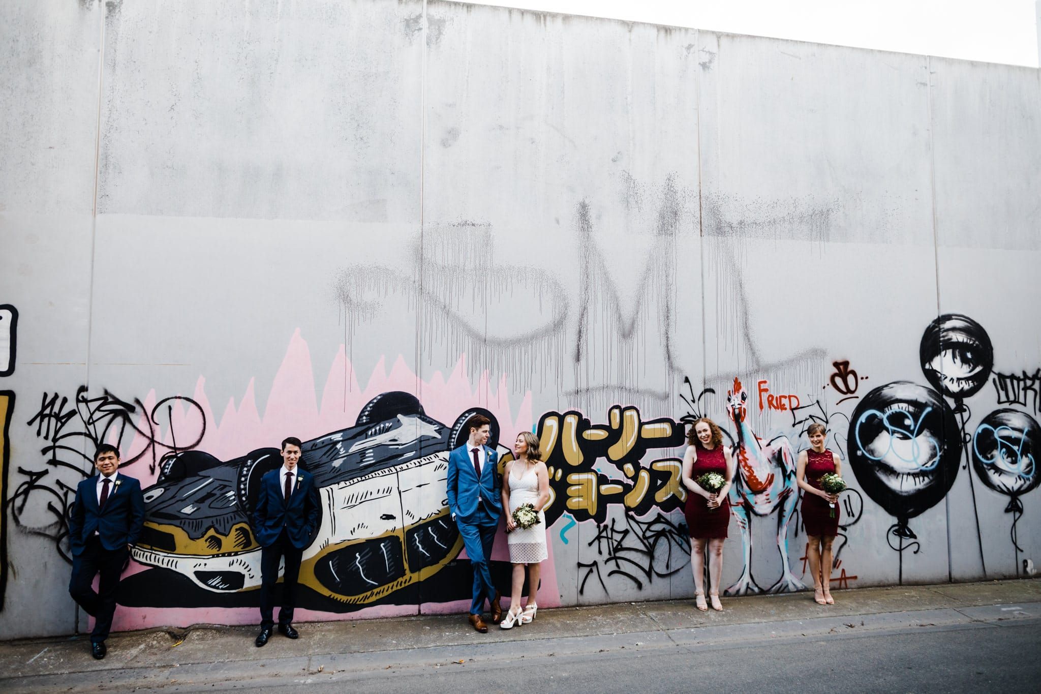 graffiti wedding party in melbourne - urban photos