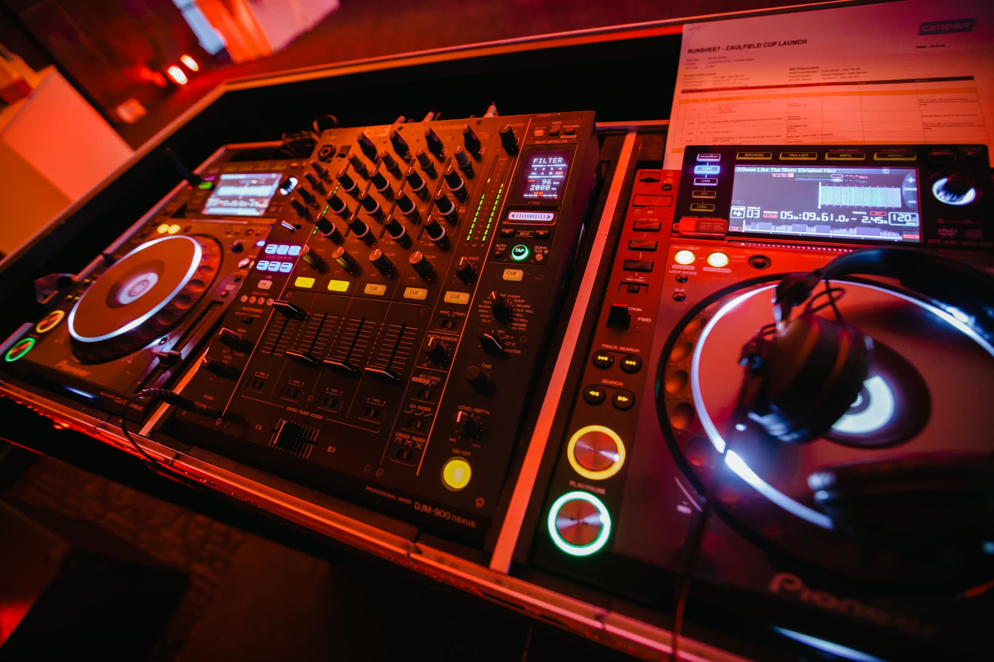 DJ turntable at event