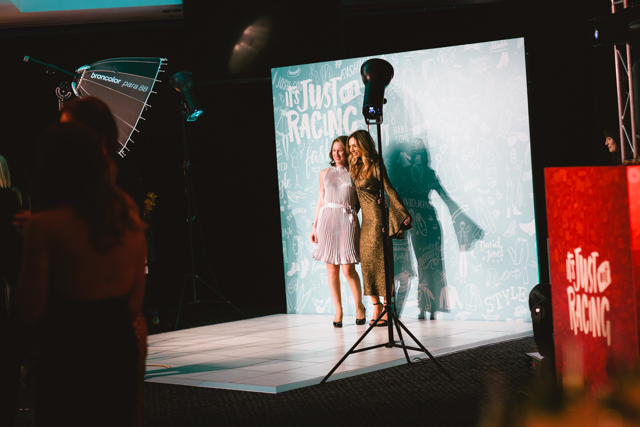 fashion photoshoot on stage at product launch party in melbourne