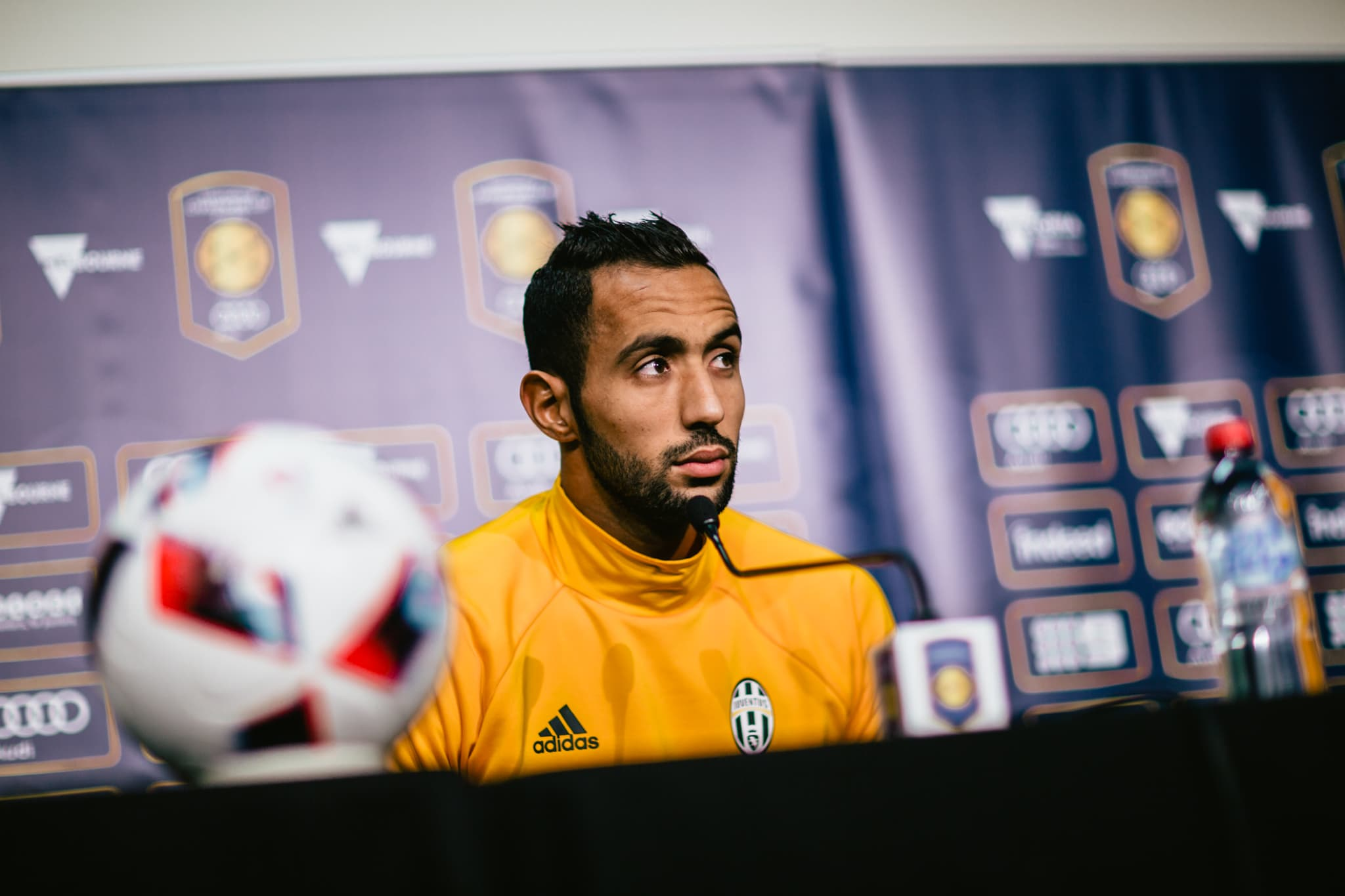 juventus player at press conference in melbourne