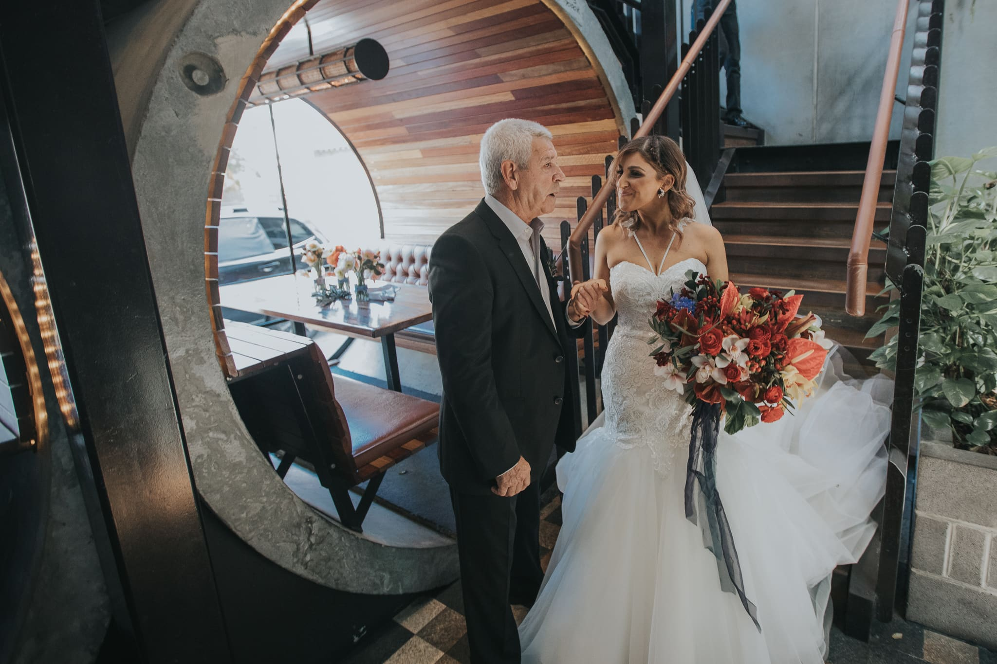 Father meets the bride to walk her down the aisle at the Prahran Hotel Wedding Venue