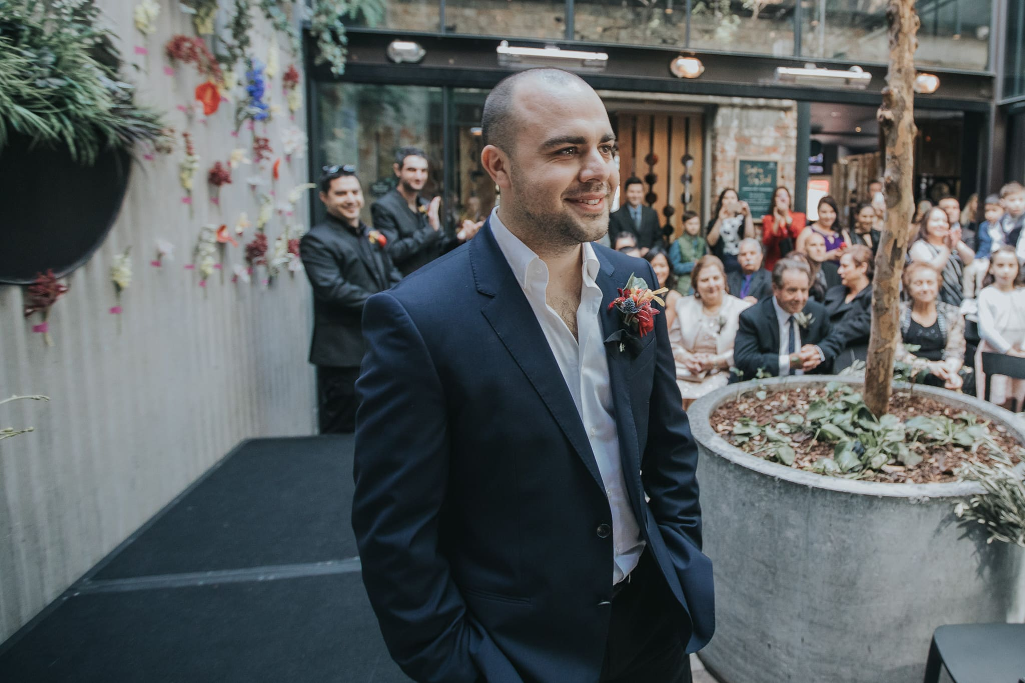 Groom excited and waiting for the bride at the ceremony in Melbourne - Captured by Melbourne Wedding Photographer