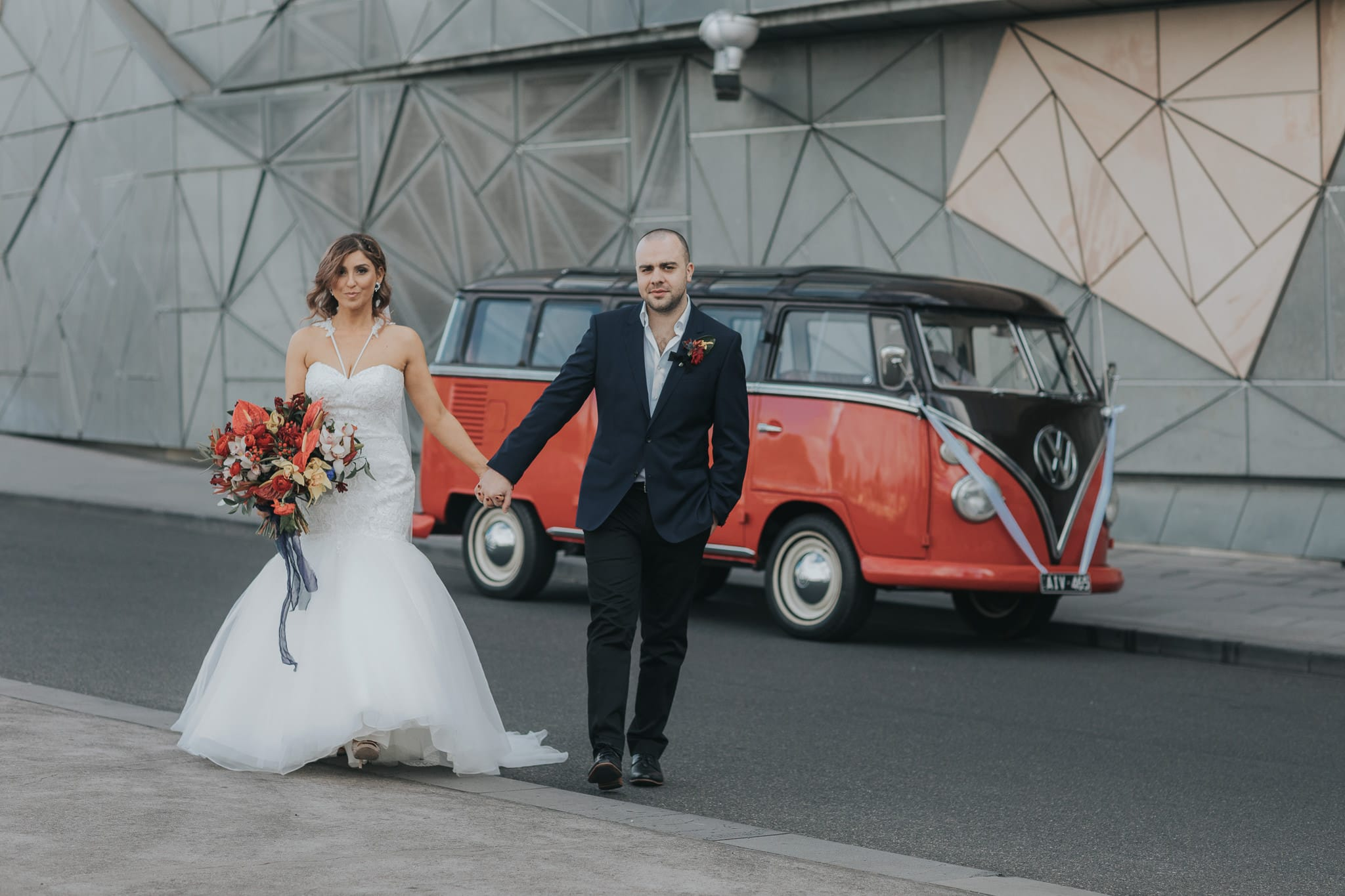 Wedding Couple at Fed Square in Melbourne CBD