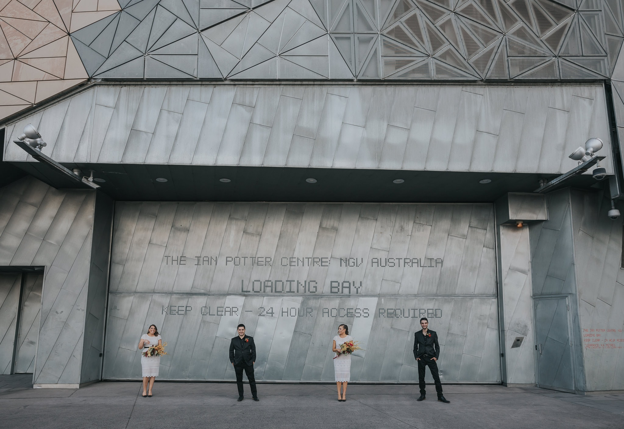 Bridesmaids & Groomsmen - Creative wedding photography in Melbourne at Federation Square - Melbourne CBD