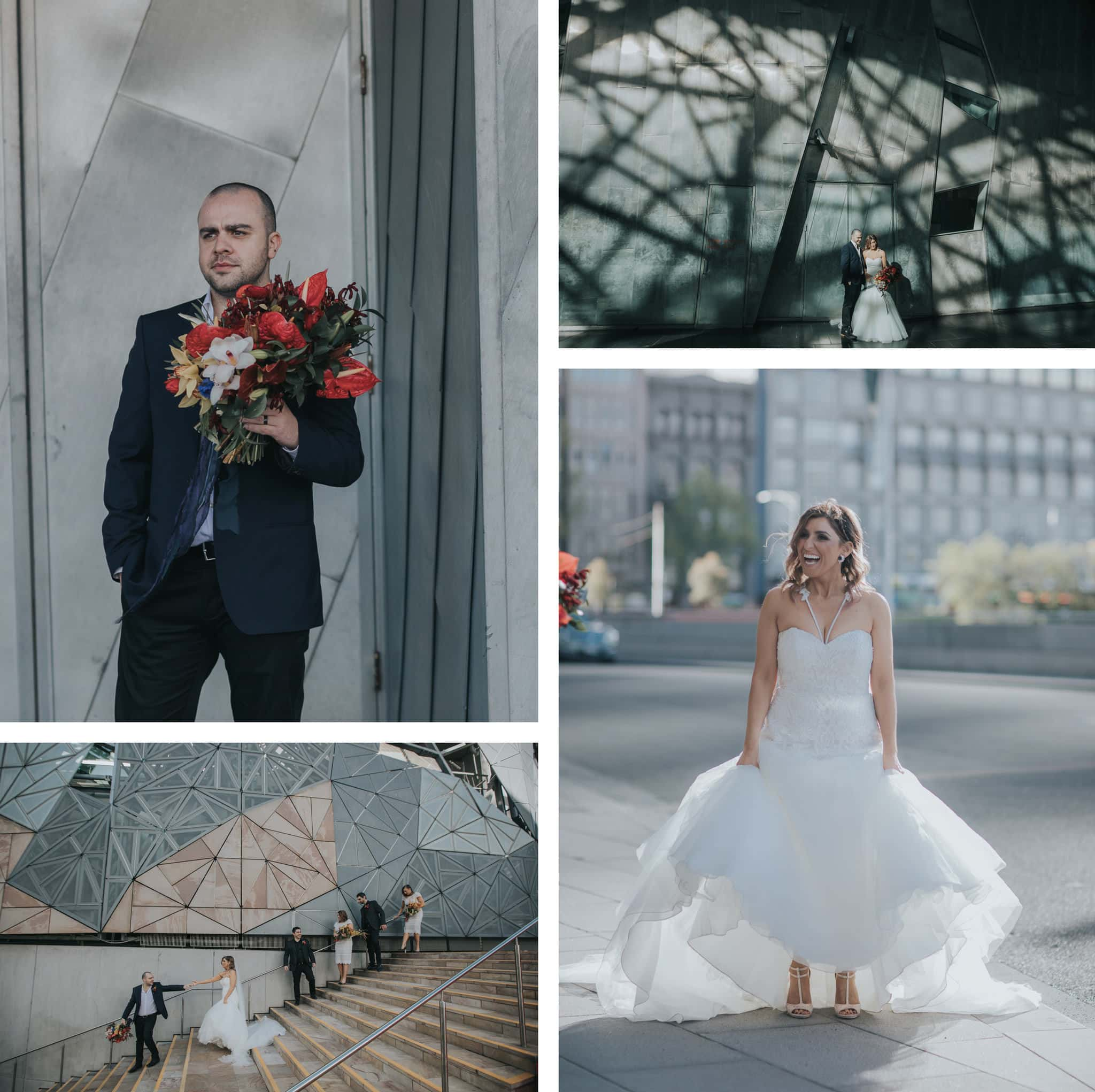 Wedding at Federation Square in Melbourne CBD photographed by Melbourne Photographer