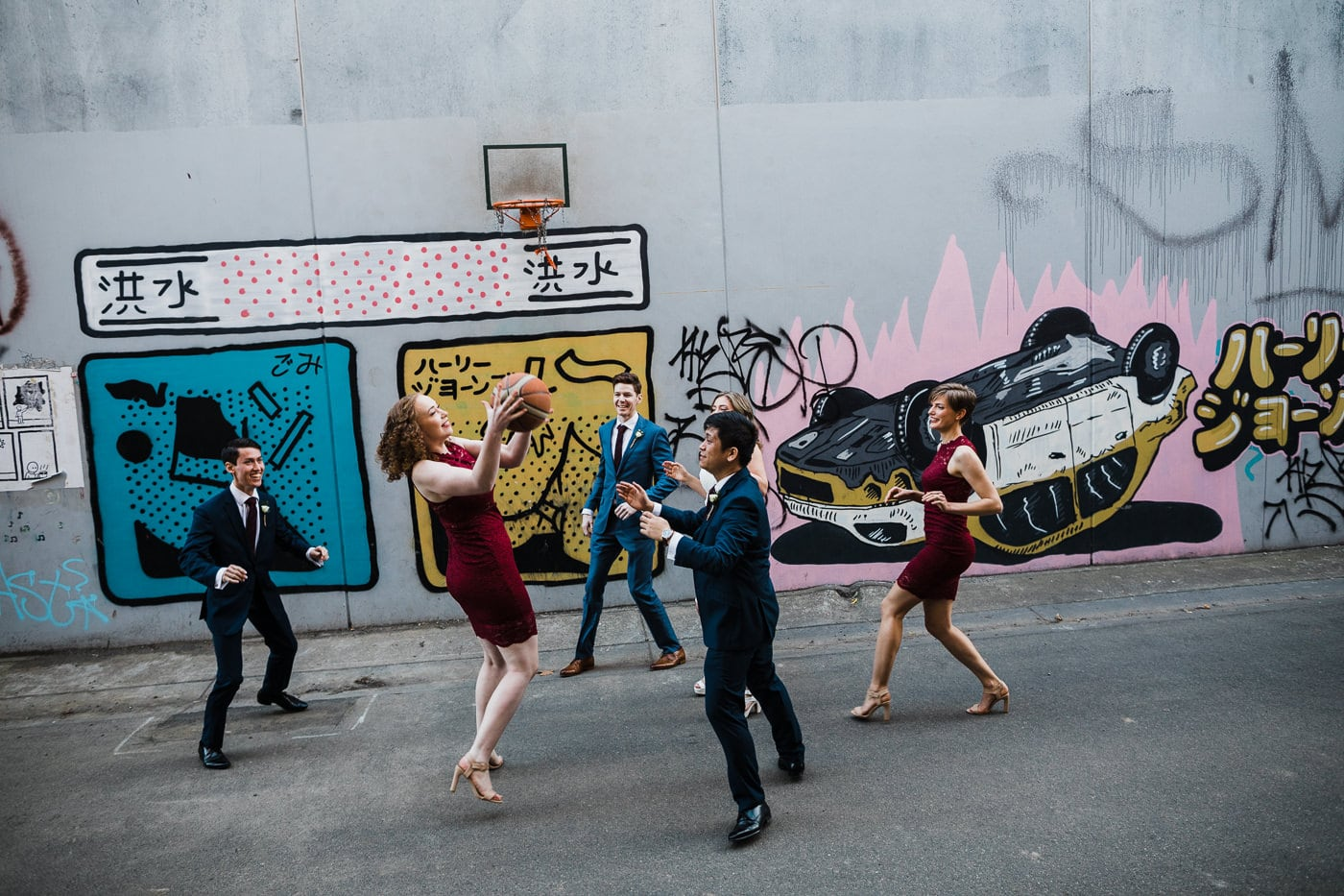 crazy wedding in melbourne - photoshoot with sports basketball - fun wedding