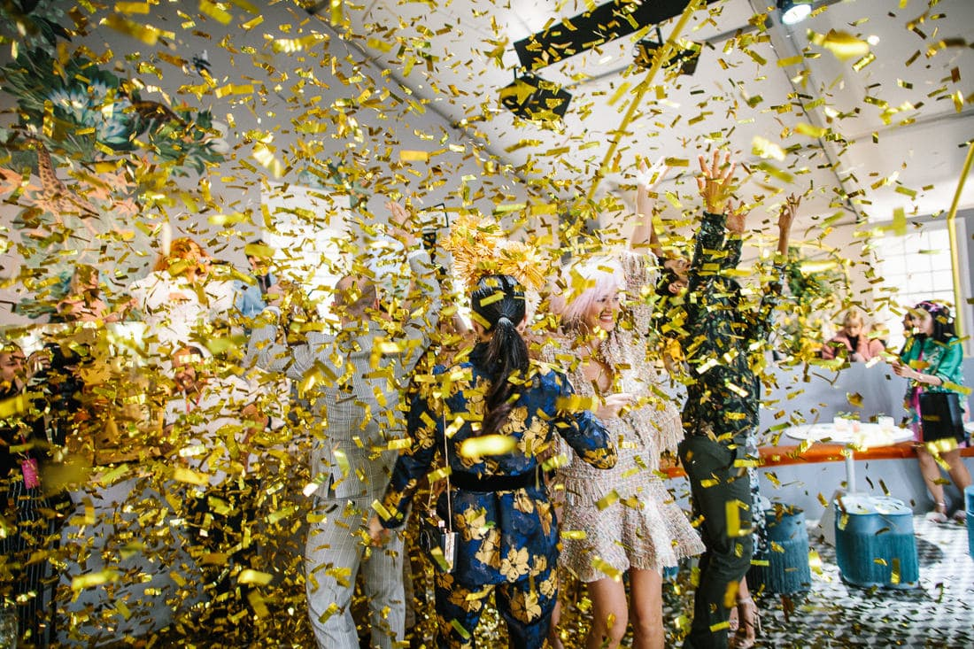 confetti bomb at best melbourne party - captured by melbourne photographer