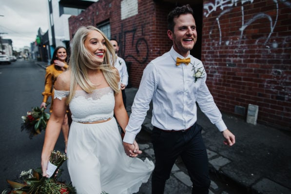 Fun at your Melbourne Wedding Photoshoot - relaxed and crazy photography for wedding couples in melbourne - Melbourne CBD Weddings
