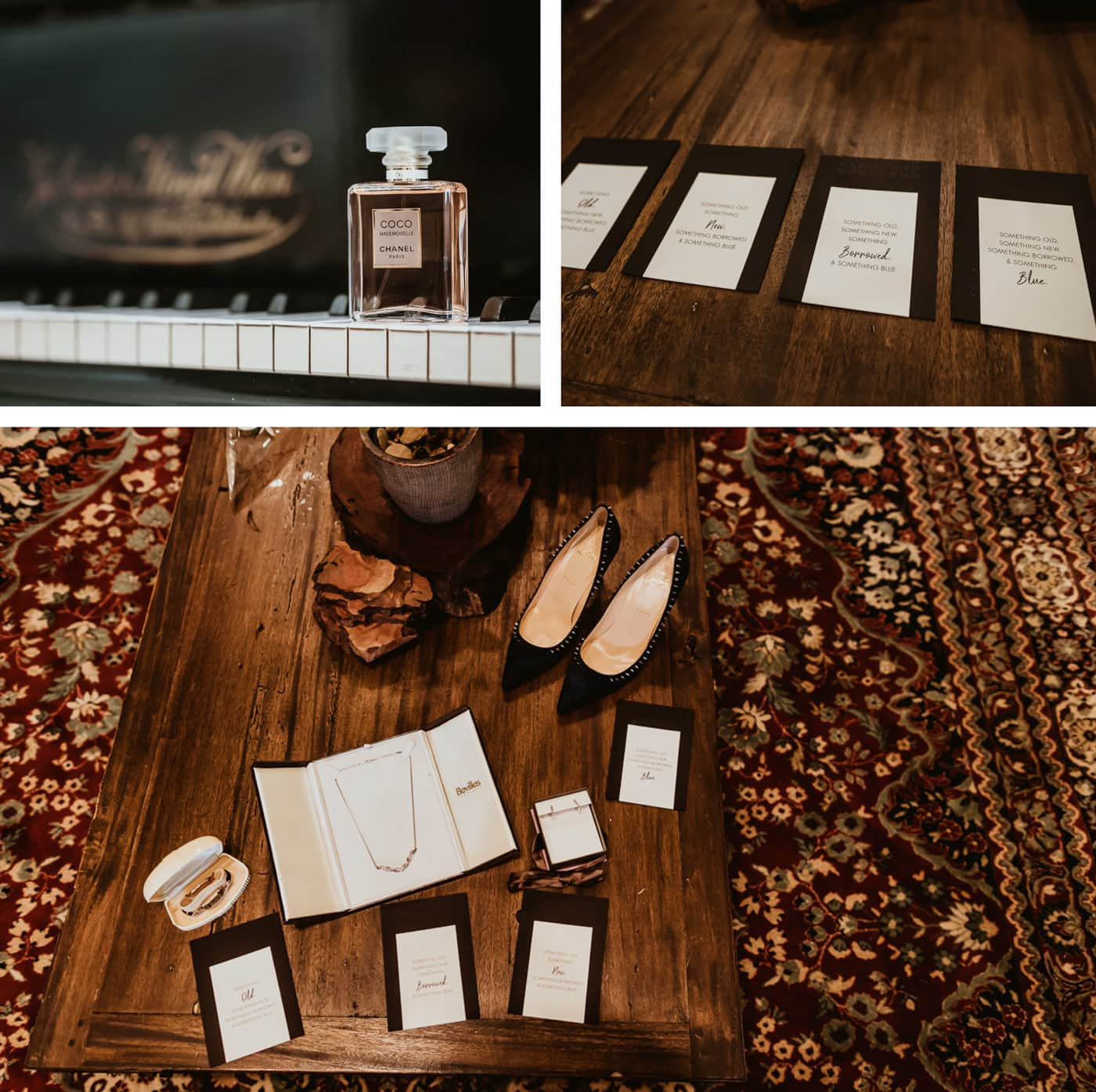 Wedding Details - shoes, perfume, cards