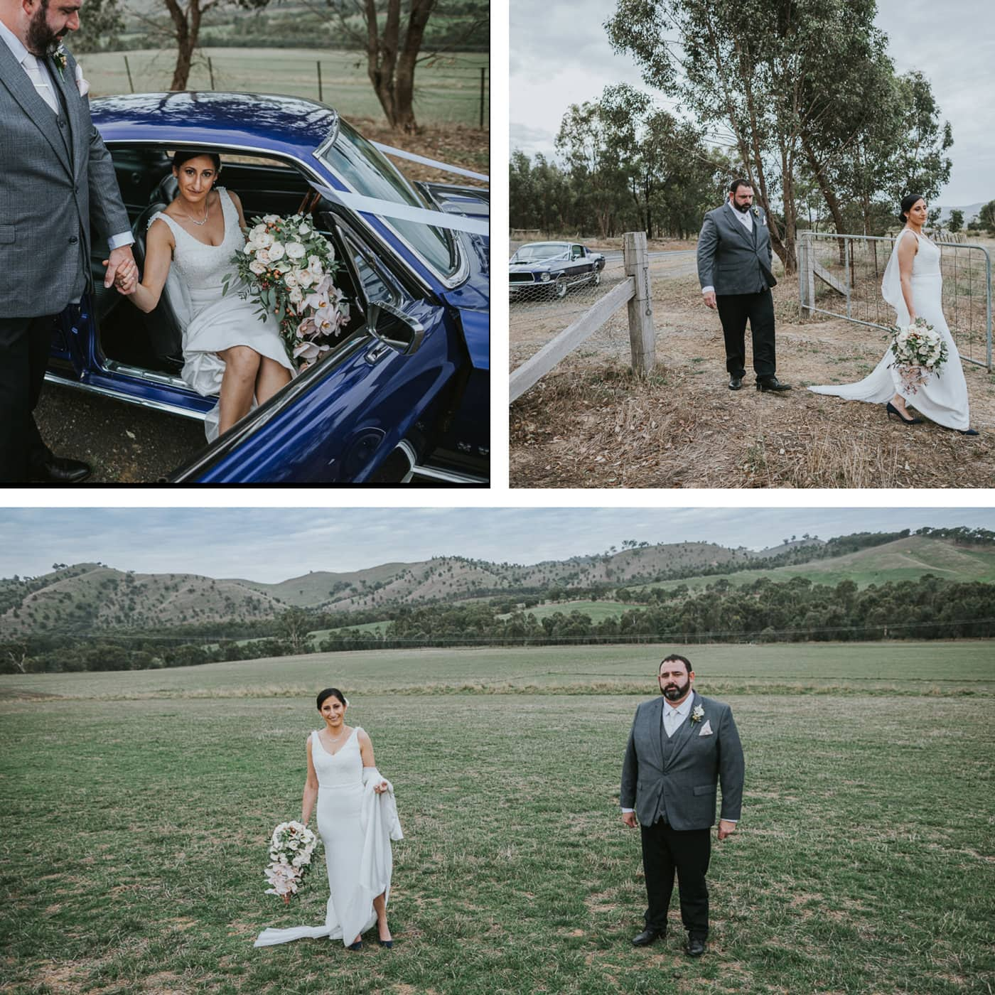 Bride and groom venture out in Ford Mustang to get to location phootshoot above the hills at Flowerdale Estate