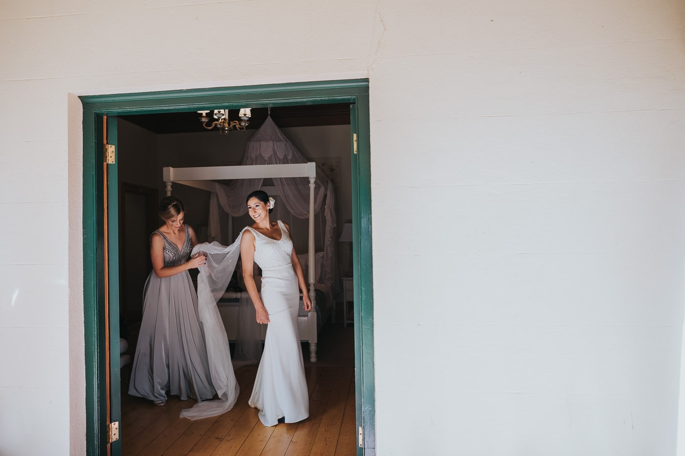bride getting the dress on at Flowerdale Estate - Captured by Wedding Photographer in Country Victoria - Close to the Yarra Valley