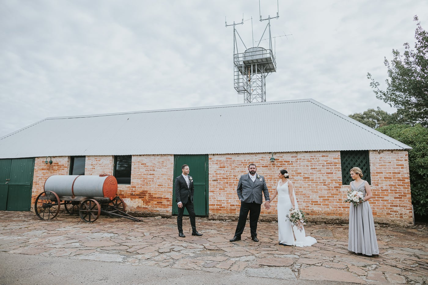 Old brick houses at Flowerdale Estate make a perfect backdrop for Wedding Photography at Flowerdale Estate