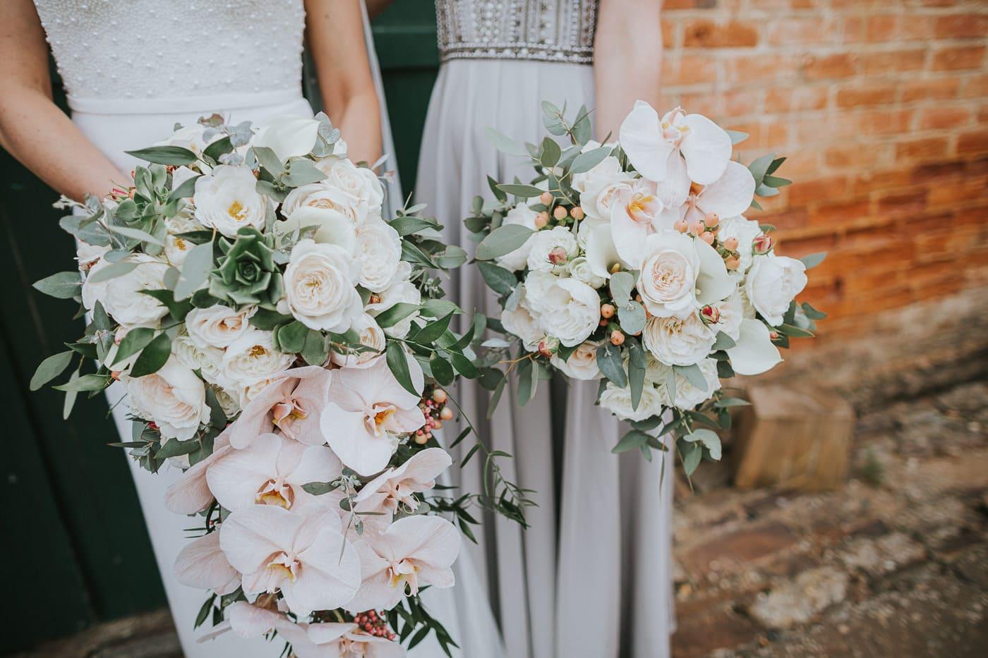beautiful bouquets at outdoor garden wedding