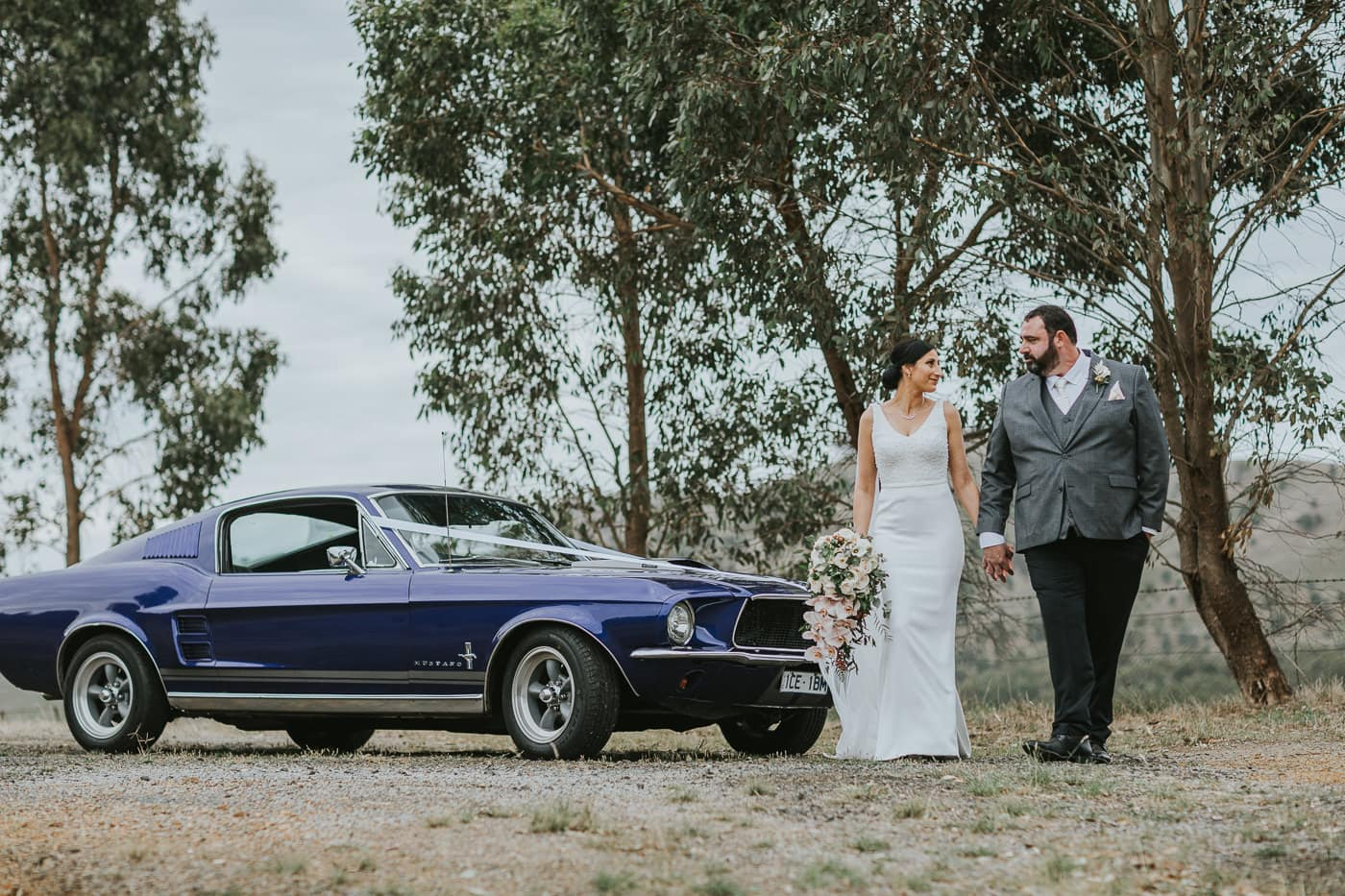 Ford Mustang with Birde and Groom - Wedding Car used inn Wedding photos by Photographer at Flowerdale Estate - Best Wedding pictures