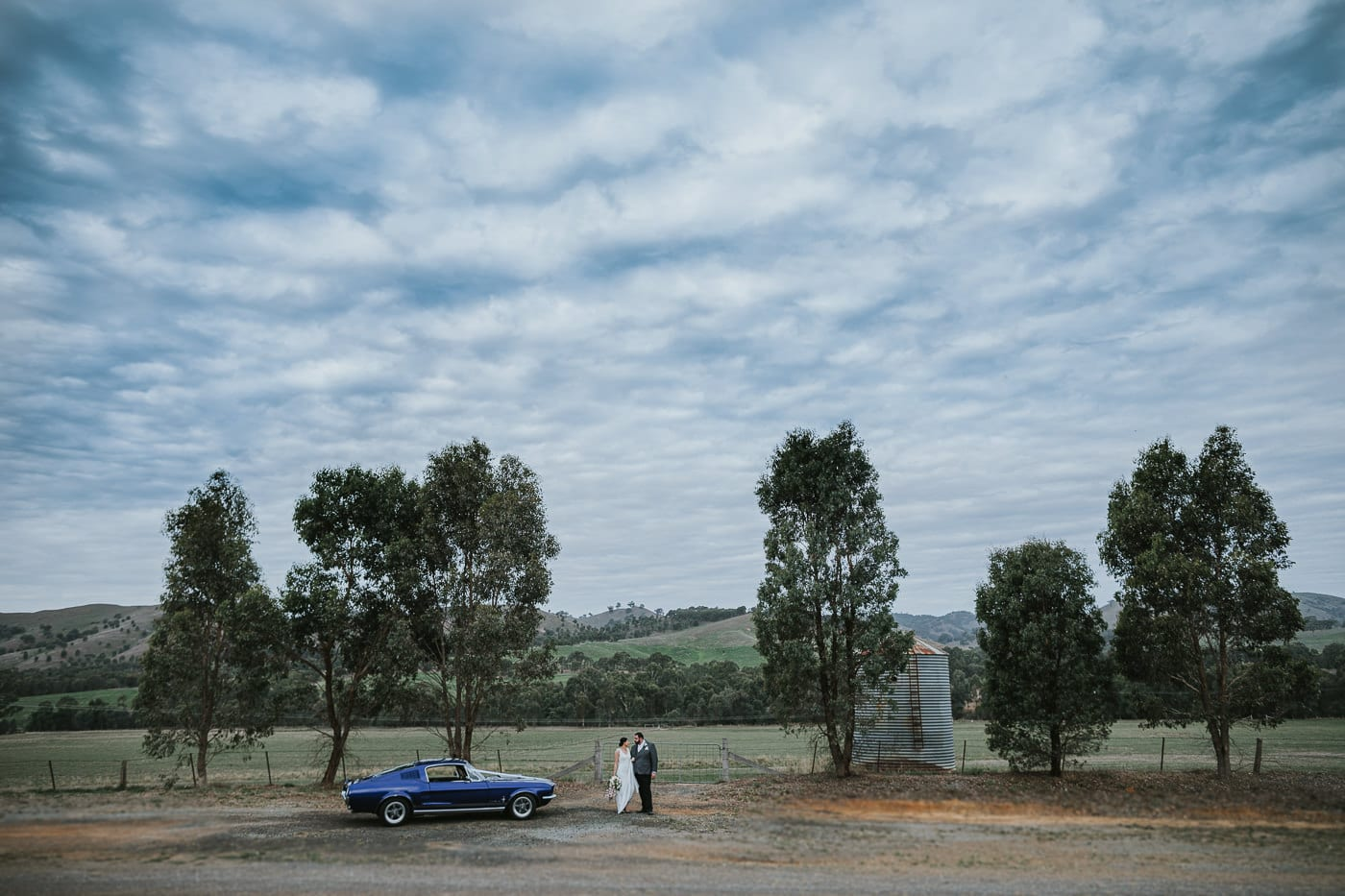 Ford Mustang on the hills of Flowerdale Estate - Best Wedding photography in Central Victoria