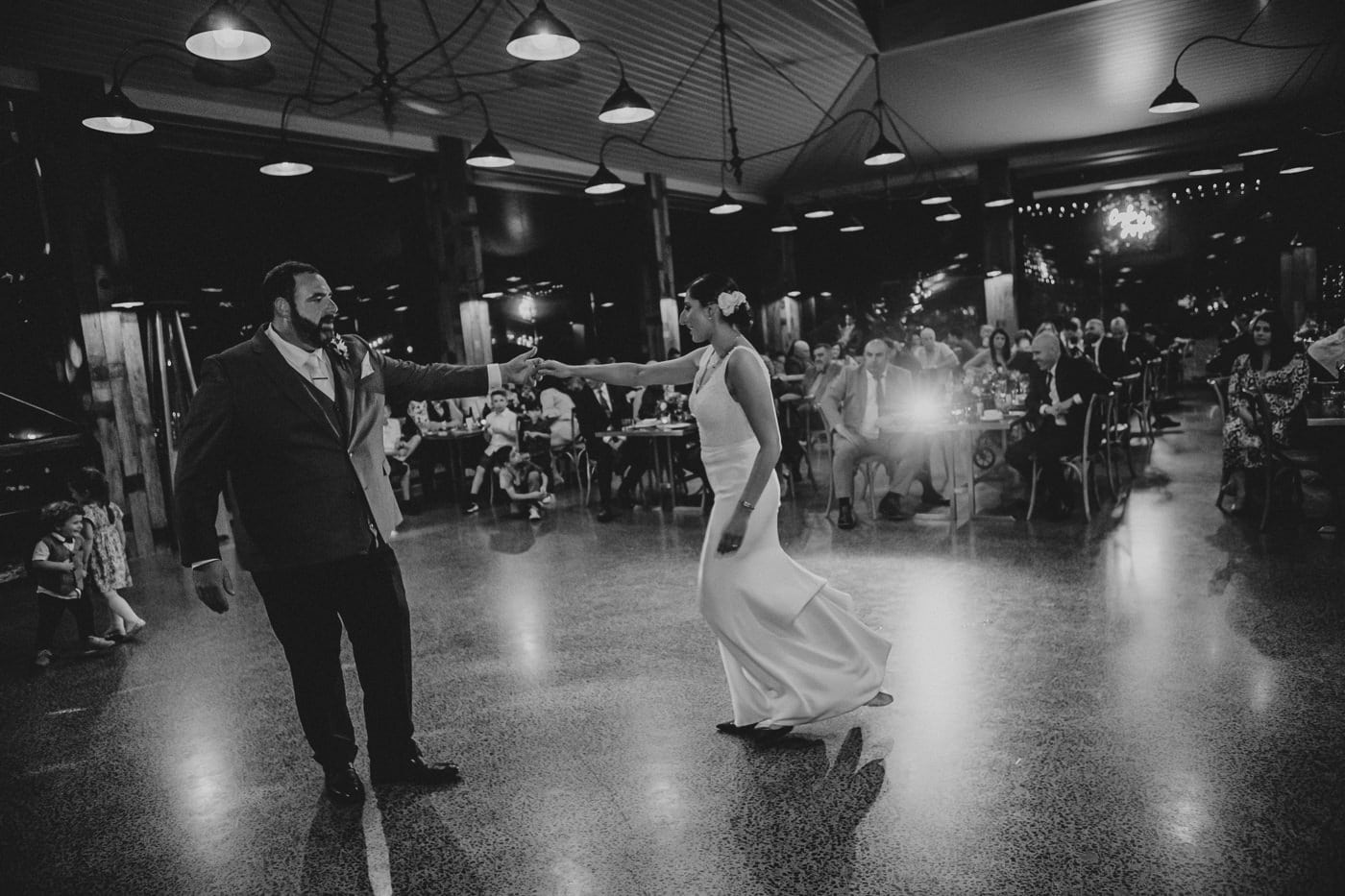 First Dance in Glass Pavillion - Black and White Wedding Photo