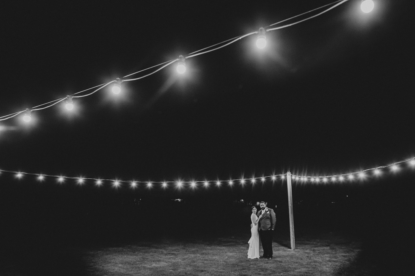 Couple under fairy lights - Wedding Photos at Flowerdale Estate by Melbourne Wedding Photographer